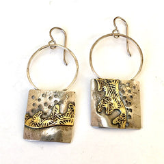 Sterling and Brass Sculptural Earrings
