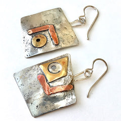 Mixed Metal Sculptural Earrings