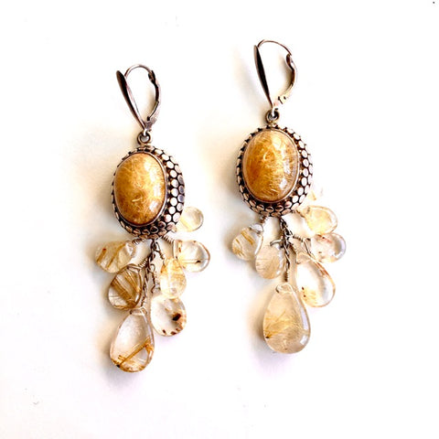 Rutilated Quartz and Sterling Earrings