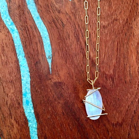 Moonstone and 14k GF Necklace