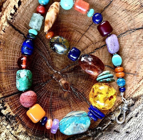 Turquoise, Amber, Semiprecious & Sterling Necklace