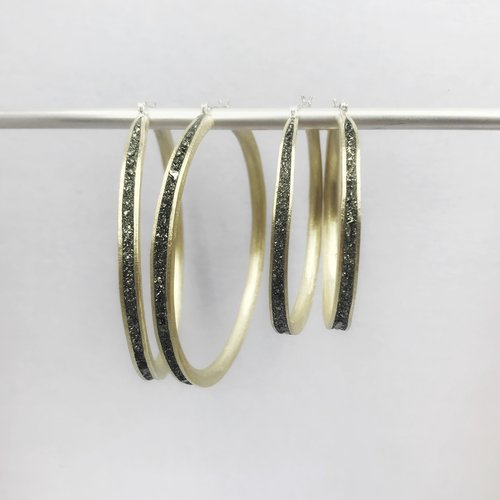Bronze Hoops with Pyrite by David Urso
