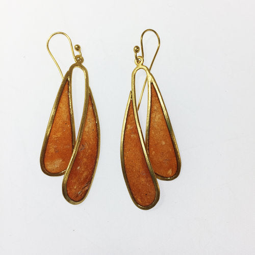 Large Flutter Bronze Earrings with Carnelian Stone Inlay by David Urso