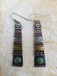 Long Mixed Metal Earrings with Turquoise by Sara Burns