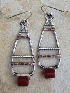 Triangles with Carnelian earrings by Sara Burns