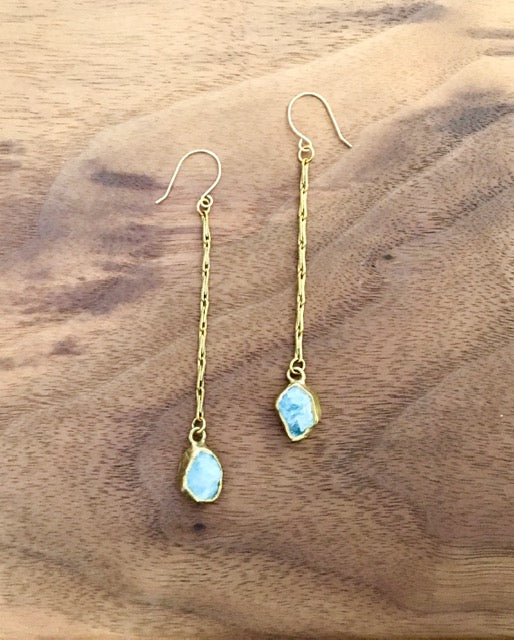 Brass & Aquamarine Duster Earrings