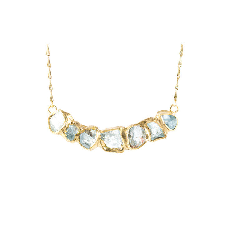 Aquamarine and Brass Necklace by Emilie Shapiro