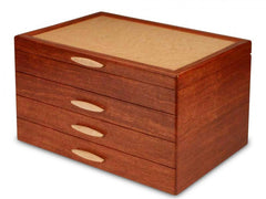 Grand Cascade II Jewelry Box - 3 Drawer Sapphire Handmade by Michael Fisher of Heartwood Creations