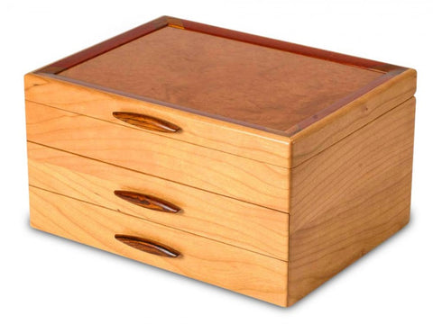 Magnificent Solid Cherry and Maple Jewelry Box