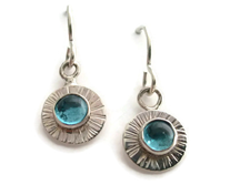 Textured Disc Earrings with Semiprecious Stone