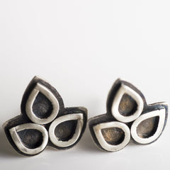 Petal Cluster Stud Earrings in Oxidized Sterling