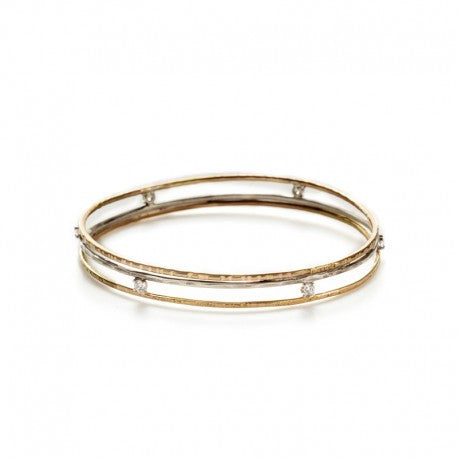 14K Gold Fill and Sterling Bangle with CZ by Ian Gibson