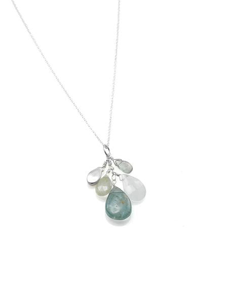 Aquamarine Cluster & Brushed Sterling Silver Necklace by Philippa Roberts