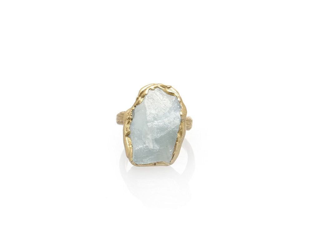 'Seafaring' Brass & Aquamarine Ring