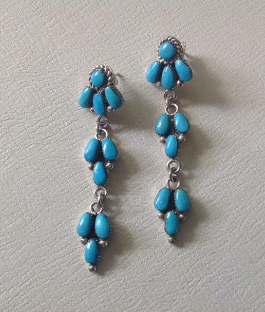 Handmade Navajo Turquoise and Sterling Earrings
