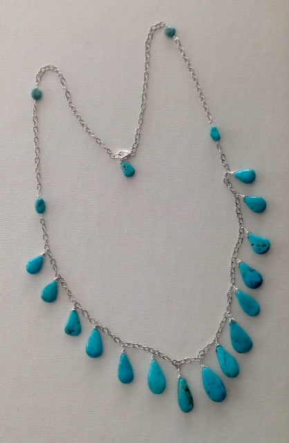 Handmade Navajo Turquoise and Sterling Necklace
