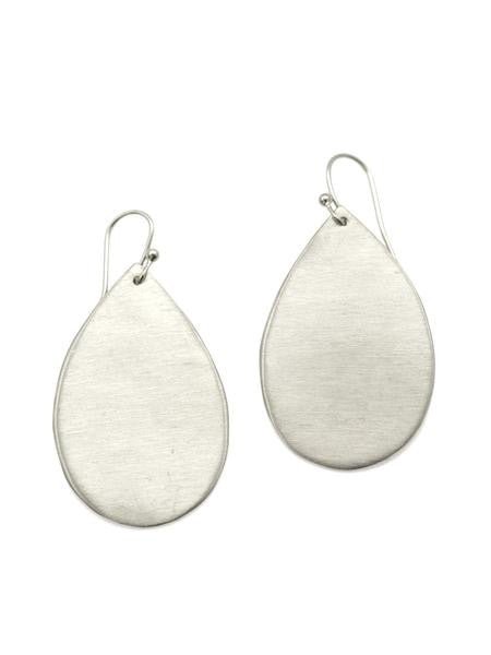 Large Brushed Sterling Silver Drop Earrings by Philippa Roberts