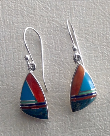 Native American Turquoise Inlay Earrings