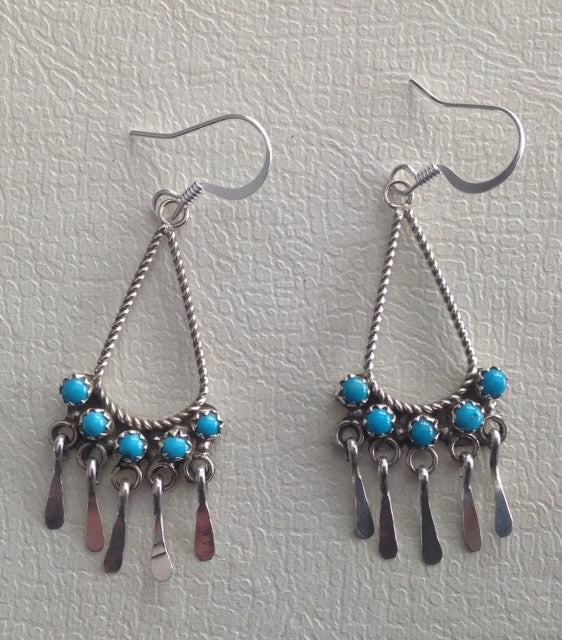 Native American Turquoise and Sterling Earrings