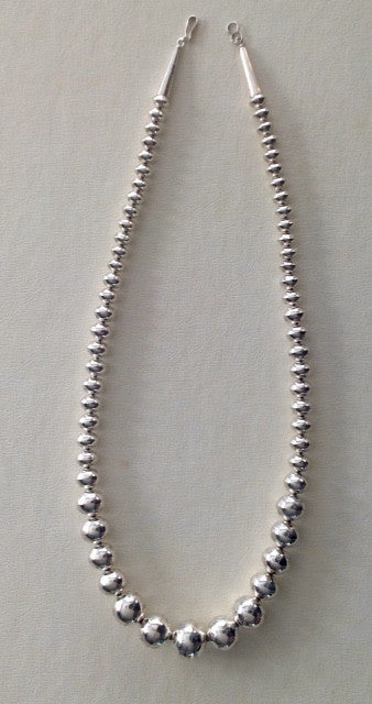 Handmade Graduated Sterling Silver Engraved Bead Necklace by Jeffrey Nelson