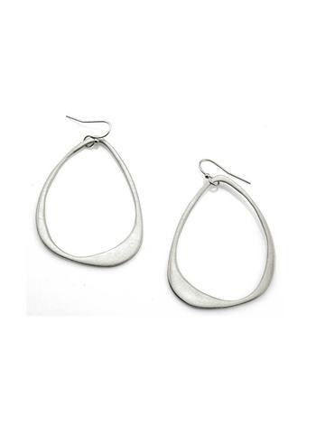 Satin-Finish Sterling Silver Large Open Drop Earring