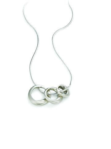 Silver Three Rings Necklace by Philippa Roberts