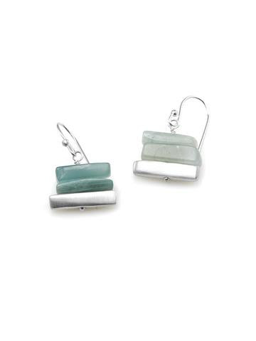'Stacked' Aquamarine and Brushed Sterling Silver Earrings by Philippa Roberts