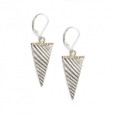 Sterling Triangle Drop Earrings with 14k Gold Fill Bar by Ian Gibson