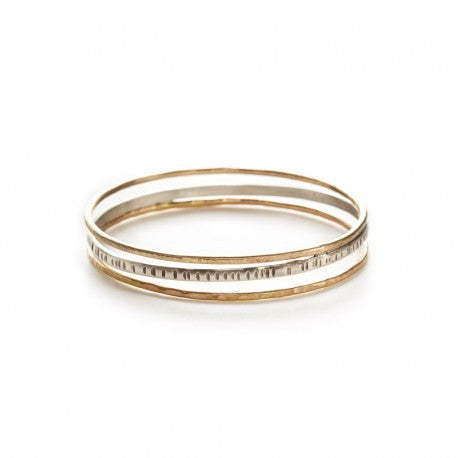 Oxidized Sterling and Gold Fill Spring bangle by Ian Gibson