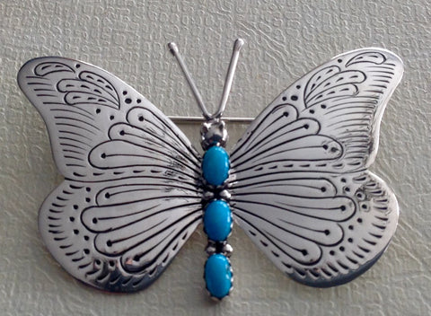 Handmade Sterling and Turquoise Butterfly Pin