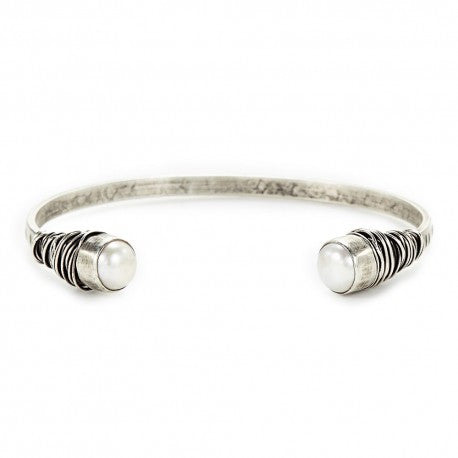Sterling Silver Cuff with White Freshwater Pearl by Ian Gibson