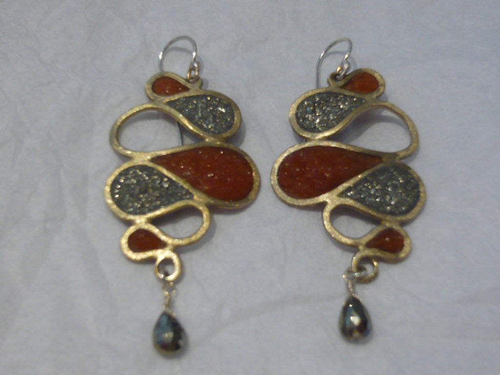 Bronze Earrings with Pyrite and Carnelian by David Urso