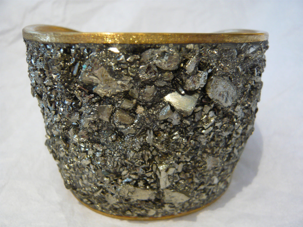 Cuff Bracelet of Pyrite and Bronze by David Urso