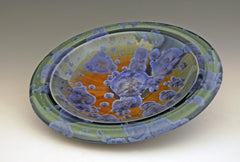 Ceramic Platter Bowl in Blue, Brown and Green by Bill Campbell