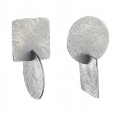 Carved Axis Sterling Silver Earrings
