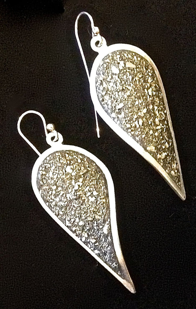 Crushed Pyrite & Sterling Silver Spire Earrings by David Urso
