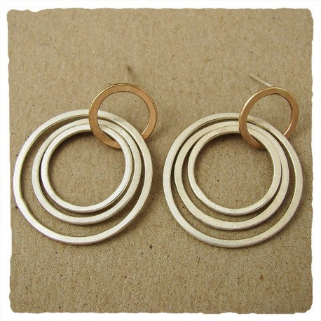 Sterling Silver and Gold  Fill Circles Post Earrings by Ian Gibson