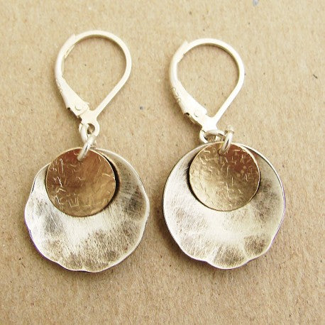 Oxidized Sterling Silver with Gold FIll Earrings by Ian Gibson