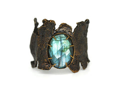 Wide Goddess Cuff Bracelet with Labradorite by Emilie Shapiro