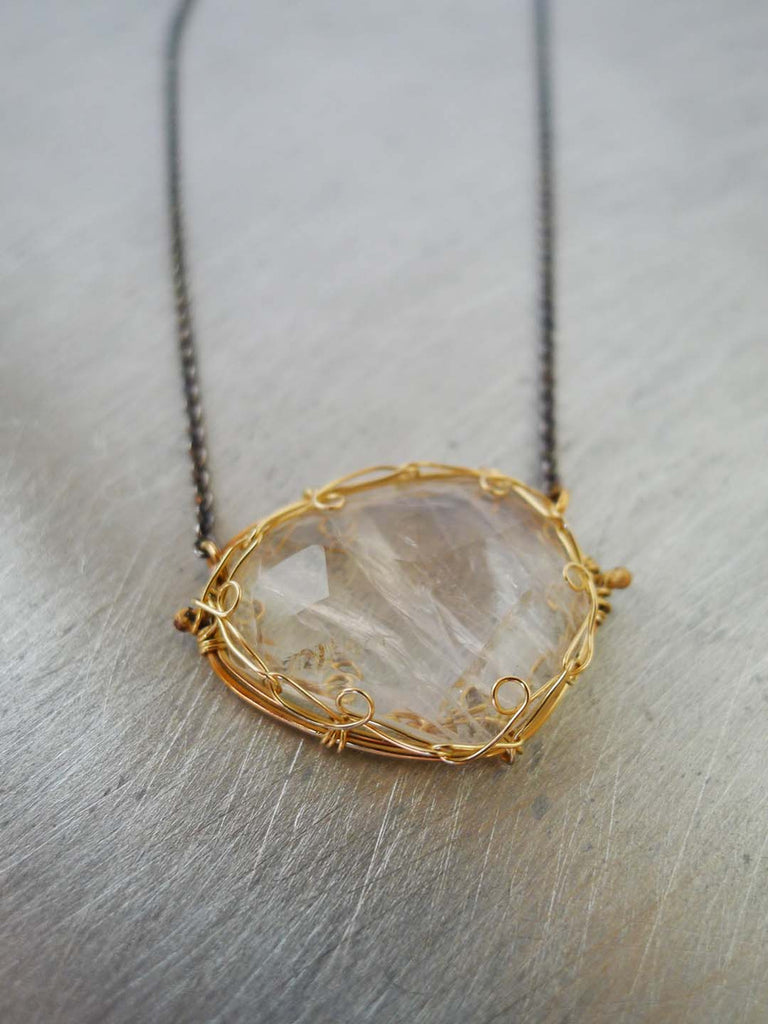 Versailles Moonstone and 14KGF Necklace