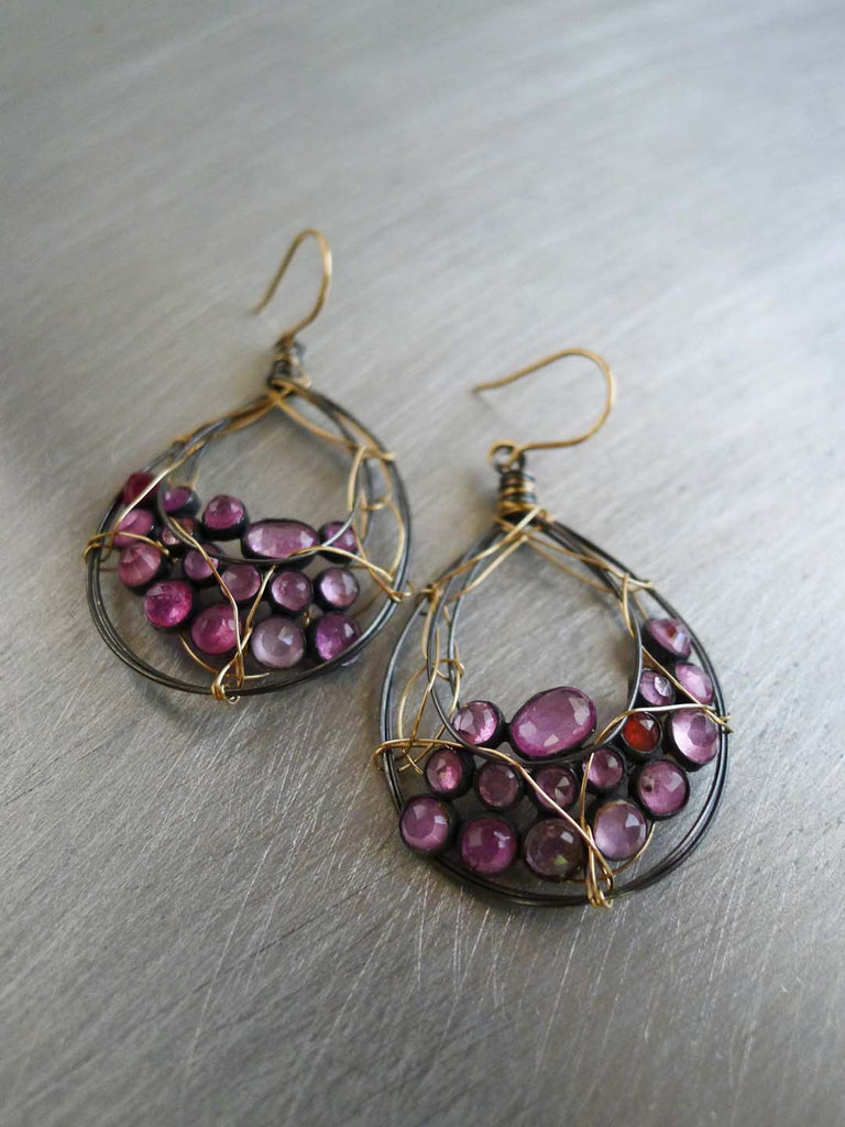 Baroque Pink Sapphire Earrings with 14KGF & Sterling Silver