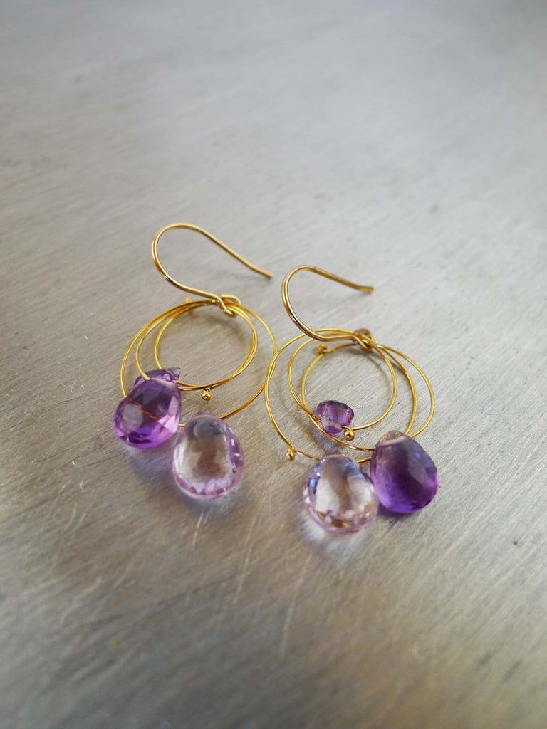 Triple Circle Amethyst Earrings