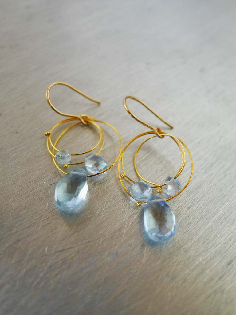 Triple Circle Blue Topaz Earrings