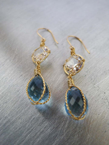 Blue Topaz and Crystal Quartz Earrings