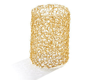 "3"" Extra Wide Metalace Bangle Bracelet in 14k Gold Fill"