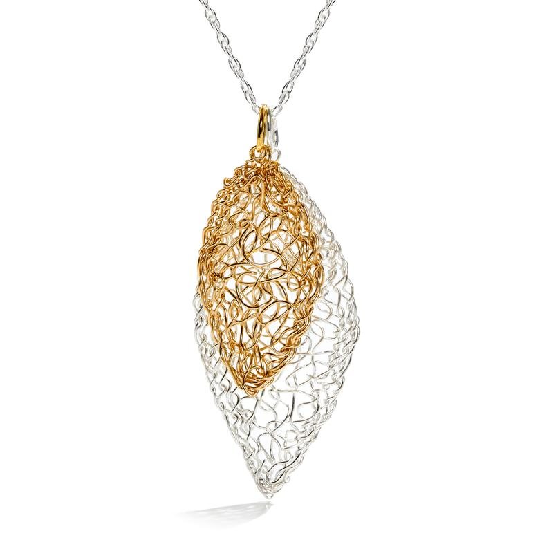 Sterling Silver and 14k Gold Filled Leaf Necklace