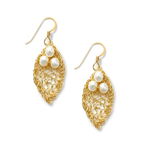 14k Gold Filled Small Leaf Earrings with Pearls