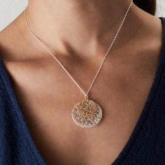 Sterling Silver and 14k Gold Filled Circle Necklace