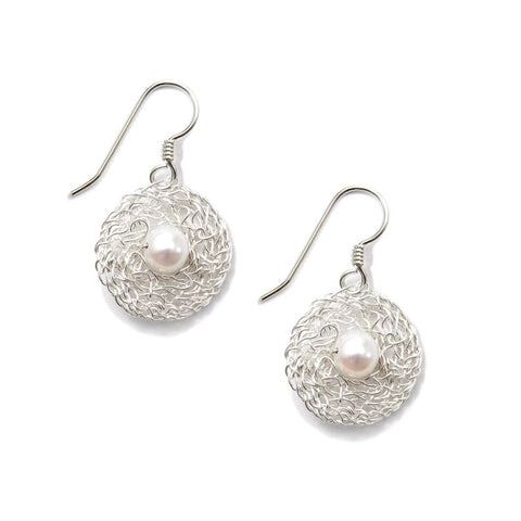 Sterling Silver Circle Earrings with Pearls