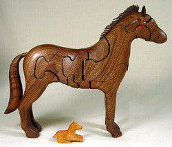 Sculptural wood horse puzzle by Peter Chapman